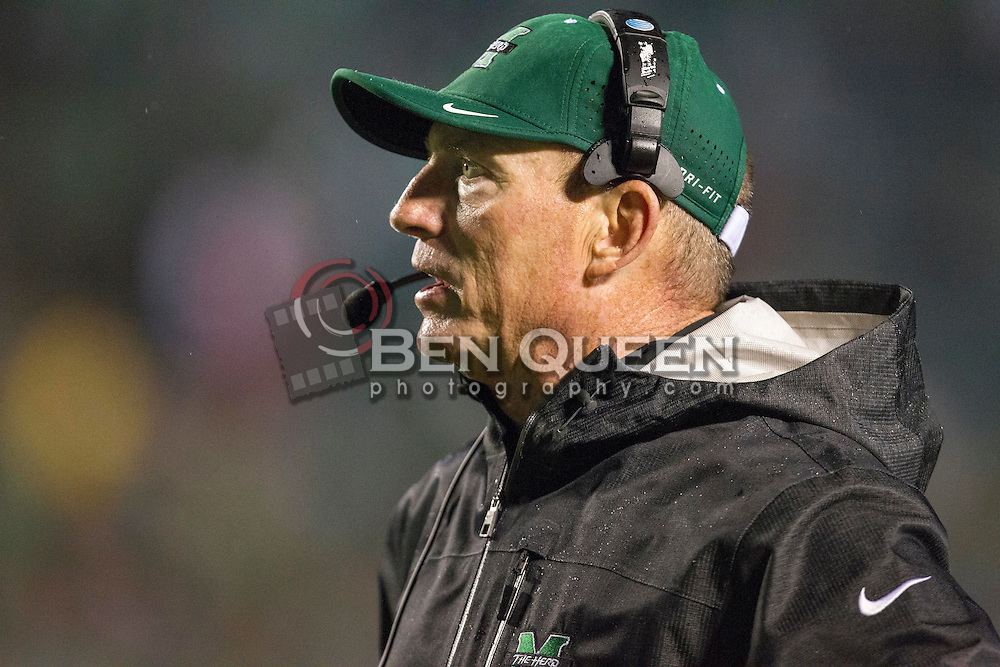 Oct 9, 2015; Huntington, WV, USA; Marshall Thundering Herd head coach Doc Holliday stands on the sidelines during the second quarter against the Southern Miss Golden Eagles at Joan C. Edwards Stadium. Mandatory Credit: Ben Queen-USA TODAY Sports
