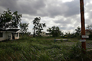 Grass grows over the foundation of a destroyed house in the decimated 9th ward in New Orleans on April 18, 2007. Over 100,000 homes were destroyed or heavily damaged in Hurricane Katrina and over half the population lived in homes with 4 feet of standing water. This has created a scarcity of livable homes driving up rent prices more than 70%.