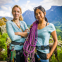 A portrait of Jenny Uehisa and Amy Leska bouldering at Zeek's Boulders in the Washington Cascades, 2005