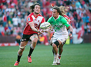 Lions v Highlanders. Franco Mostert of the Emirates Lions wins control of the ball from Dan Pryor of the Highlanders during the 2016 Super Rugby semi-final match at Ellis Park, Johannesburg, 30 July 2016. <br /> <br /> © Anton de Villiers / www.photosport.nz