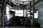 Japanese train cabin with with the driver