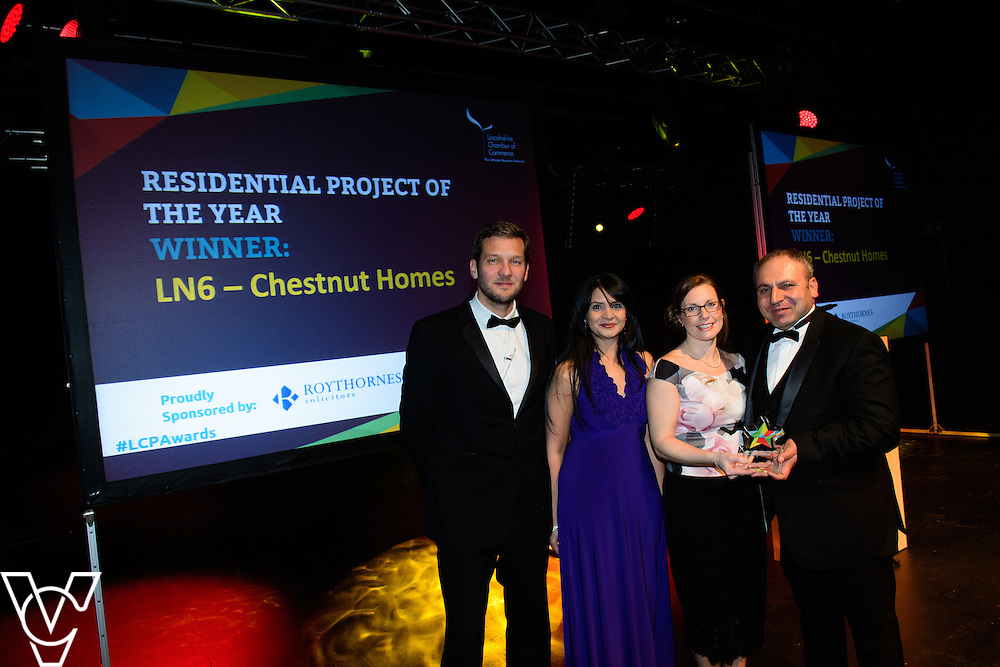 Lincolnshire Property and Construction Awards 2017.<br /> <br /> Residential Project of the Year - Sponsored by Roythornes Solicitors.<br /> <br /> Charlie Luxton and award sponsor Shruti Trivedi from Roythornes Solicitors presents the award to LN6 by Chestnut Homes.<br /> <br /> Picture: Chris Vaughan Photography for Lincolnshire Chamber of Commerce<br /> Date: February 7, 2017