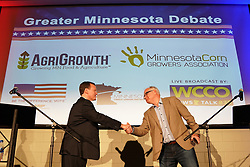 October 9, 2018 - Willmar, MN, USA - Minnesota gubernatorial candidate Hennepin County Commissioner Jeff Johnson, Republican, left, shakes hands with Congressman Tim Walz, DFL, after they participated in the ''Greater Minnesota Debate'' in Willmar, Minn., on Tuesday, Oct. 9, 2018. (Credit Image: © Anthony Souffle/Minneapolis Star Tribune/TNS via ZUMA Wire)