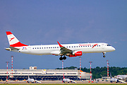 Austrian Airlines Embraer ERJ-195LR (Embraer 190-195) OE-LWA at Malpensa (MXP / LIMC), Milan, Italy