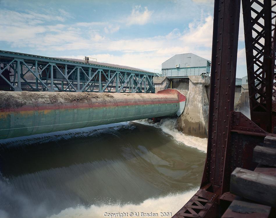 Roller Gate Open during spring freshet, Bellows Falls Dam, Bellows Falls, VT