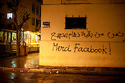 "Tunis, Tunisia. January 29th 2011.""Thanks Facebook !"" on a wall close to Avenue Bourguiba...."