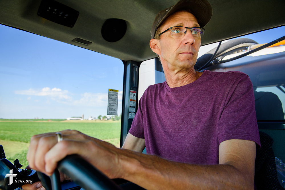 The Rev. Steven Struecker, full-time farmer and pastor of <br /> Immanuel Lutheran Church, Livermore, Iowa, and Zion Evangelical Lutheran Church, Lu Verne, Iowa, sprays his crops on his farm Saturday, July 8, 2017, in West Bend, Iowa. LCMS Communications/Erik M. Lunsford