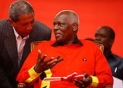 José Eduardo dos Santos, the president of the Republic of Angola and the MPLA number 1 candidate for the forthcoming general elections of August 31, talk with General Kopelipa, during a political raly at November 11 Stadium - Luanda, today, August 29, last campaign day.