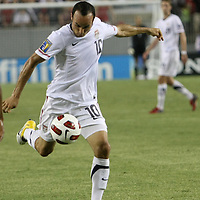 USA midfielder Landon Donovan (10) kicks the ball during a CONCACAF Gold Cup soccer match between the United States and Panama on Saturday, June 11, 2011, at Raymond James Stadium in Tampa, Fla. (AP Photo/Alex Menendez)