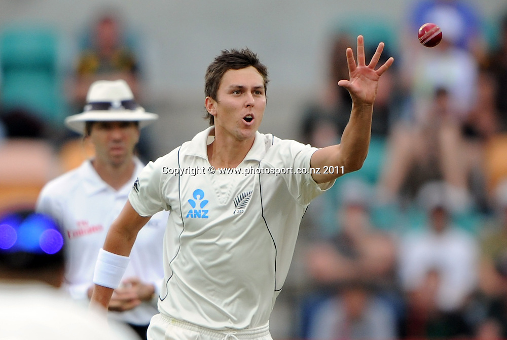 New Zealand bowler Trent Boult on Day 1 of the second cricket test between Australia and New Zealand Black Caps at Bellerive Oval in Hobart, Friday 9 December 2011. Photo: Andrew Cornaga/Photosport.co.nz