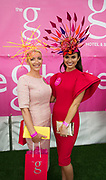 Repro Free. Finalists  Elaine Kellerher from Kilgarvan and Aoife O'Sullivan from Bandon Co. Cork Finalist at the g Hotel Best Dressed competitions at the Galway Races. Photo: Andrew Downes, xposure