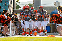 KELOWNA, BC - AUGUST 3:  Cole Stregger #19, Aiden Hennessey #45 and Lucas Spencer #70 of the Okanagan Sun head to the field for the home opening game against the Kamloops Broncos  at the Apple Bowl on August 3, 2019 in Kelowna, Canada. (Photo by Marissa Baecker/Shoot the Breeze)