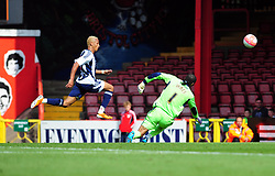 West Bromwich Albion's Peter Odemwingie  lifts the ball over Bristol City Goalkeeper, David James and the cross bar - Photo mandatory by-line: Joseph Meredith / JMPUK - 30/07/2011 - SPORT - FOOTBALL - Championship - Bristol City v West Bromwich Albion - Ashton Gate Stadium, Bristol, England