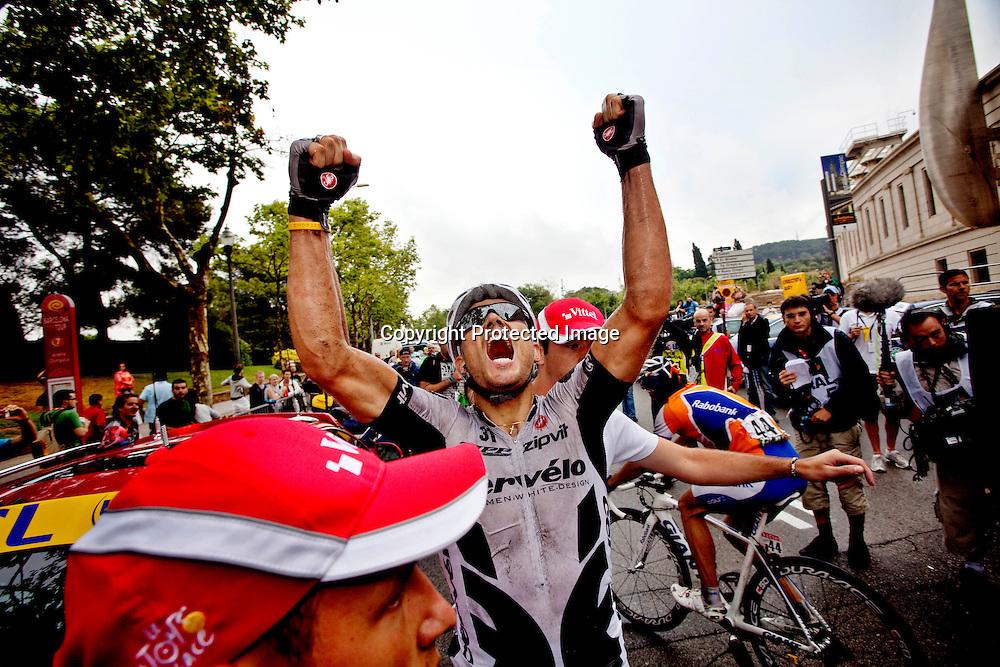 09072009, Barcelona. Thor Hushovd jubler for seier på den 6.etappen i Tour de France etter målgang...Foto: Daniel Sannum Lauten/VG