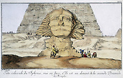 Huge head of Sphinx, seen from the front. It is just in front of the second pyramid of Memphis, Egypt. Engraving after FL Norden.