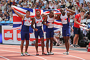 Great Britain A celebrate the 4 x 100m Men Relayduring the Muller Anniversary Games at the Stadium, Queen Elizabeth Olympic Park, London, United Kingdom on 23 July 2016. Photo by Phil Duncan.