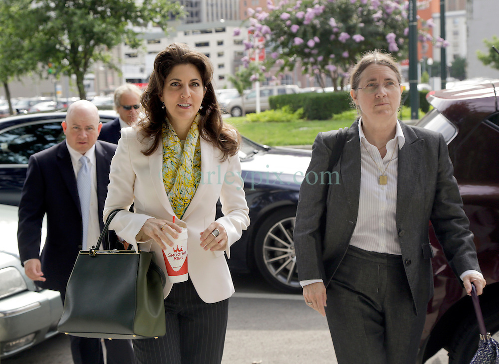 03 June  2015. New Orleans, Louisiana. <br /> L/R Ryan LeBlanc, Rita Benson LeBlanc and their mother Renee LeBlanc arrive at  Civil Distrcit Court for week 2 of a hearing to determine the competency of grandfather/father Tom Benson. Benson is the billionaire owner of the NFL New Orleans Saints, the NBA New Orleans Pelicans, various auto dealerships, banks, property assets and a slew of business interests. Rita, her brother and mother demanded a competency hearing after Benson changed his succession plans and decided to leave the bulk of his estate to third wife Gayle, sparking a controversial fight over control of the Benson business empire.<br /> Photo&copy;; Charlie Varley/varleypix.com