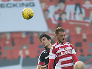 Dundee&rsquo;s Julen Etxabeguren and Hamilton&rsquo;s Gramoz Kurtaj battle in the air - Hamilton v Dundee in the Ladbrokes Scottish Premiership at Superseal stadium, Hamilton. Photo: David Young<br /> <br />  - &copy; David Young - www.davidyoungphoto.co.uk - email: davidyoungphoto@gmail.com
