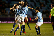 Manchester City Women's Team celebrate Manchester City midfielder Keira Walsh (24) goal 1-1 during the FA Women's Super League match between Manchester City Women and Everton Women at the Sport City Academy Stadium, Manchester, United Kingdom on 20 February 2019.