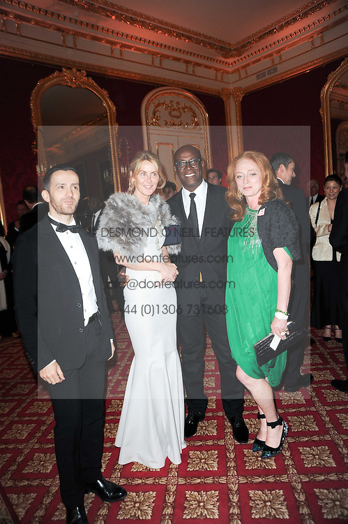 Left to right, KINDER AGGUGINI, the MARCHIONESS OF BUTE, CHARLES ABOAH and CAMILLA LOWTHER at a dinner hosted by HRH Prince Robert of Luxembourg in celebration of the 75th anniversary of the acquisition of Chateau Haut-Brion by his great-grandfather Clarence Dillon held at Lancaster House, London on 10th June 2010.