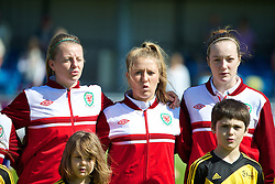 HAVERFORDWEST, WALES - Sunday, August 25, 2013: Wales' Hannah Keryakoplis, Amy Wathan and Samantha Quayle before the Group A match against France of the UEFA Women's Under-19 Championship Wales 2013 tournament at the Bridge Meadow Stadium. (Pic by David Rawcliffe/Propaganda)