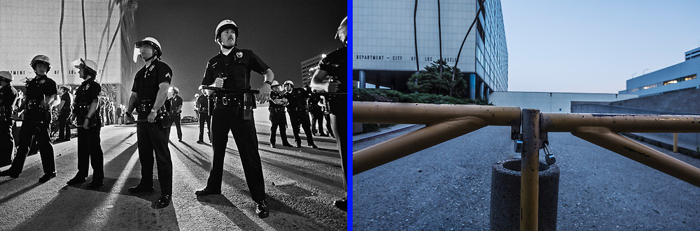 Before and after photos of LAPD's Parker Center.<br /> <br /> 25 before and after LA92 photo project.