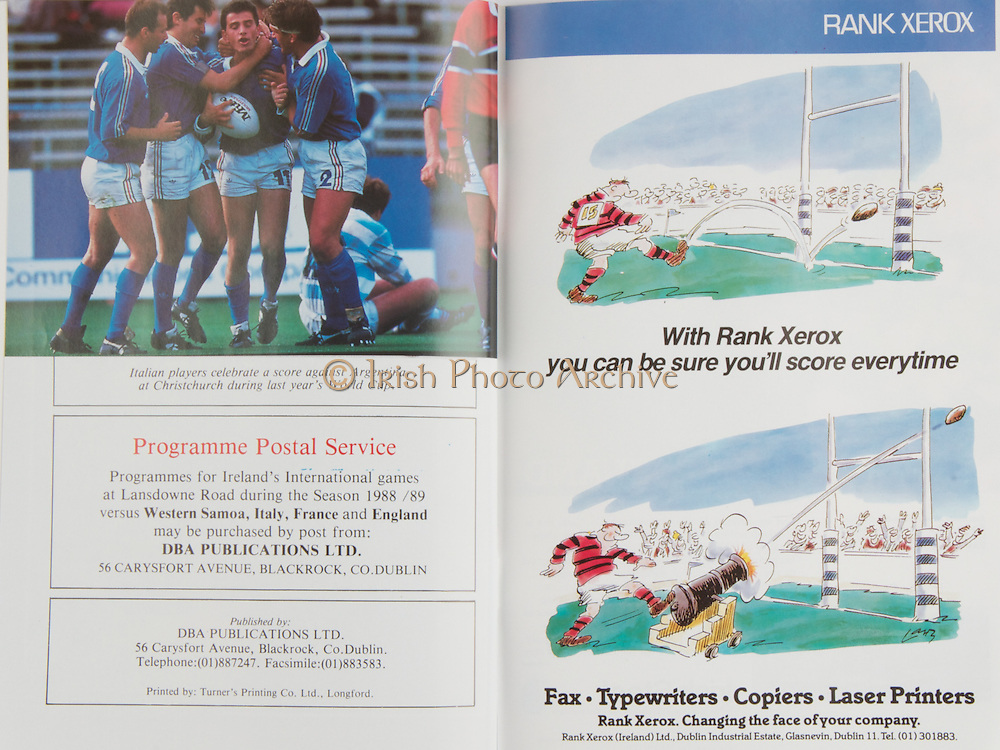 Irish Rugby Football Union, Ireland v Italy, Friendly, Landsdowne Road, Dublin, Ireland, Saturday 31st December, 1988,.31.12.1988, 12.31.1988,..Referee- R Megson, S.R U., ..Score- Ireland 31- 15 Italy,..Irish Team, ..P P A Danaher,  Wearing number 15 Irish jersey, Full Back, Garryowen Rugby Football Club, Limerick, Ireland, ..J F Sexton, Wearing number 14 Irish jersey, Right Wing, Lansdowne Rugby Football Club, Dublin, Ireland,..V Cunningham, Wearing number 13 Irish jersey, Right Centre, St Marys Rugby Football Club, Dublin, Ireland,..B J Mullin, Wearing number 12 Irish jersey, Left Centre, London Irish Rugby Football Club, London, England, ..K D Crossan, Wearing number 11 Irish jersey, Left Wing, Instonians Rugby Football Club, Ireland,..P M Dean, Wearing number 10 Irish jersey, Out Half, St Marys College Rugby Football Club, Dublin, Ireland,..F P Aherne, Wearing number 9 Irish jersey, Scrum Half, Lansdowne Rugby Football Club, Dublin, Ireland,..N P Mannion, Wearing number 8 Irish jersey, Forward, Corinthians Rugby Football Club, Ireland,..W D McBride, Wearing number 7 Irish jersey, Forward, Malone Rugby Football Club, Ireland, ..P M Mathews, Wearing number 6 Irish jersey, Captain of the Irish team, Forward, Wanderers Rugby Football Club, Dublin, Ireland,..N P Francis, Wearing number 5 Irish jersey, Forward, London Irish Rugby Football Club, London, England,  ..D G Lenihan, Wearing number 4 Irish jersey, Forward, Cork Constitution Rugby Football Club, Cork, Ireland,..J J Mcoy, Wearing number 3 Irish jersey, Forward, Bangor Rugby Football Club, Down, Northern Ireland,..S J Smith, Wearing number 2 Irish jersey, Forward, Ballymena Rugby Football Club, Antrim, Northern Ireland, ..T P J Clancy, Wearing number 1 Irish jersey, Forward, Lansdowne Rugby Football Club, Dublin, Ireland,..Italy Team, ..L Troiani, Wearing number 15 Italian jersey, Full Back, L'Aquila Rugby Football Club, Italy,..M Brunello, Wearing number 14 Italian jersey, Right Wing, Colli Euganei Rugby Footb