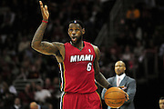 March 29, 2010; Cleveland, OH, USA; Miami Heat small forward LeBron James (6) calls a play while making his way down court during the first quarter against the Cleveland Cavaliers at Quicken Loans Arena. Mandatory Credit: Jason Miller-US PRESSWIRE