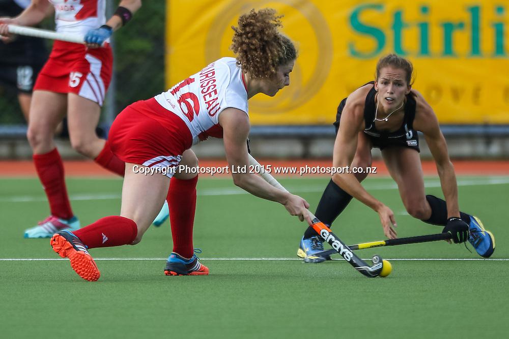 Natalie Sourissea attempts to pass past Petrea Webster. International Womens Hockey. New Zealand Black Sticks v Canada. Whangarei. New Zealand. Thursday 5 February 2015. Copyright Photo: Heath Johnson / www.photosport.co.nz