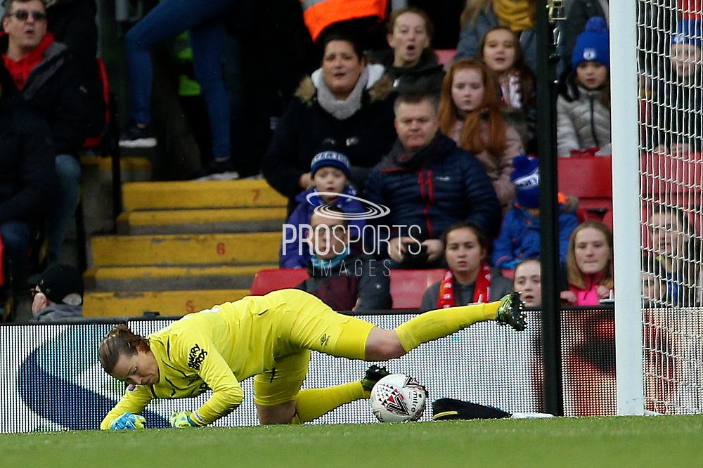 Everton women goalkeeper Tinja-Riikka Korpela (23) gets down to gather the low shot  during the FA Women's Super League match between Liverpool Women and Everton Women at Anfield, Liverpool, England on 17 November 2019.