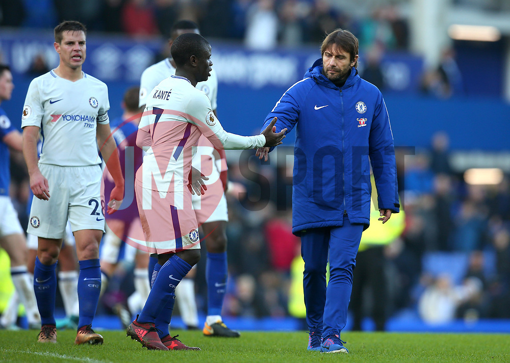 Chelsea manager Antonio Conte shakes hands with Ngolo Kante of Chelsea - Mandatory by-line: Robbie Stephenson/JMP - 23/12/2017 - FOOTBALL - Goodison Park - Liverpool, England - Everton v Chelsea - Premier League