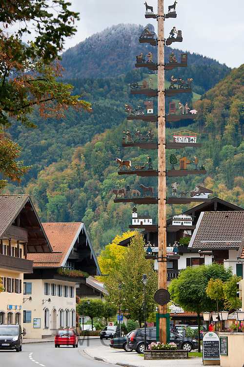 Maypole of rural pastoral and trades scenes at Grassau in Baden-Wurttenberg, Bavaria, Germany
