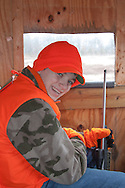 Youth Hunter in Enclosed Wisconsin Deer Stand