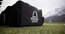 GRÖDIG, AUSTRIA - Tuesday, December 10, 2019: A UEFA Youth League logo on a bag during the final UEFA Youth League Group E match between FC Salzburg and Liverpool FC at the Untersberg-Arena. (Pic by David Rawcliffe/Propaganda)