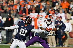 Clemson cornerback Chris Chancellor (38) breaks up a pass intended for Virginia wide receiver Dontrelle Inman (81).  The Clemson Tigers defeated the Virginia Cavaliers 13-3 in NCAA Division 1 football at Scott Stadium on the Grounds of the University of Virginia in Charlottesville, VA on November 22, 2008.
