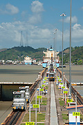 Cargo ship leaving Miraflores Locks. Panama Canal, Panama City, Panama, Central America.