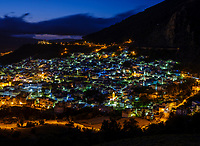 CHEFCHAOUEN, MOROCCO - CIRCA APRIL 2017: Blue hour in Chefchaouen as seen from a hilltop. This is a popular tourist destination in Morocco
