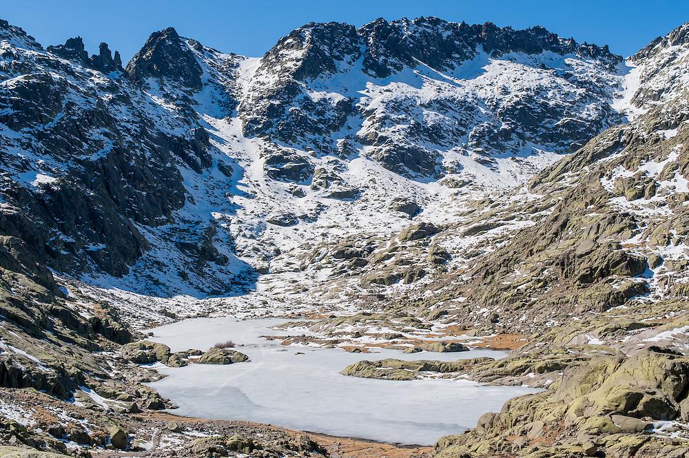 Iced lake in Sierra de Gredos (Spain)
