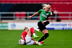 Yana Daniels of Bristol City challenges Matilde Lundorf of Brighton and Hove Albion Women - Mandatory by-line: Ryan Hiscott/JMP - 07/09/2019 - FOOTBALL - Ashton Gate - Bristol, England - Bristol City Women v Brighton and Hove Albion Women - FA Women's Super League