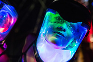 September 19, 2015 - Ravers wear LED glow masks as they dance during Sundown Music Festival in Huntington Beach, CA. (Photo by: Foster Snell)