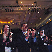 Bono Mack & Mack stand on their feet and applaud for Mitt Romney during his speech to the Conservative Political Action Conference, CPAC on Friday Feb 10, 2012 in Washington DC.