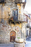 Empty street scene in Savoca, Sicily, made famous by Frances Ford Coppola for scenes in the film the Godfather.