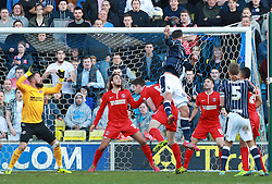 Millwall's Stefan Maierhofer heads over the bar - Photo mandatory by-line: Robin White/JMP - Tel: Mobile: 07966 386802 15/03/2014 - SPORT - FOOTBALL - The Den - Millwall - Millwall v Charlton Athletic - Sky Bet Championship