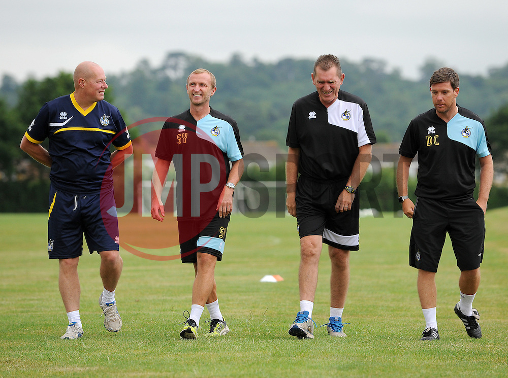 Rev David Jeal, Steve Yates, Stuart Naylor and Bristol Rovers Manager, Darrell Clarke - Photo mandatory by-line: Neil Brookman/JMP - Mobile: 07966 386802 - 02/07/2015 - SPORT - Football - Bristol - Friends Life Training Ground - Bristol Rovers Pre-Season Training