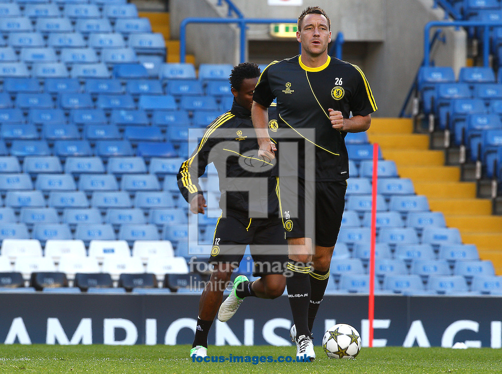 Picture by Paul Terry/Focus Images Ltd +44 7545 642257.18/09/2012.John Terry of Chelsea during training session ahead of the UEFA Champions League match at Stamford Bridge, London.