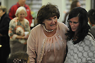 Dotsy Fitts (left), who served as head librarian for 44.5 years at the Lafayette County and Oxford Public Library, visits with Kerri Case at a retirement party in her honor in Oxford, Miss. on Thursday, November 8, 2012.