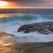 Crashing Wave At High Tide - La Jolla Shoreline - Sunset