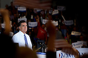 Republican Presidential candidate Mitt Romney addresses the crowd gathered at the Veterans Memorial Colliseum in Marion, Ohio, Oct. 28, 2012.