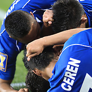 El Salvador players congratulate Rodolfo Zelaya, El Salvador, (centre) after scoring his second goal during the El Salvador Vs Trinidad and Tobago CONCACAF Gold Cup group B football match at Red Bull Arena, Harrison, New Jersey. USA. 8th July 2013. Photo Tim Clayton
