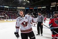 KELOWNA, CANADA - OCTOBER 13: Mark Kastelic #12 of the Calgary Hitmen celebrates a first period goal against the Kelowna Rockets on October 13, 2017 at Prospera Place in Kelowna, British Columbia, Canada.  (Photo by Marissa Baecker/Shoot the Breeze)  *** Local Caption ***